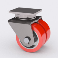 Caster Concepts Heavy Duty Dual Wheel Caster with t/?R Poly Tread