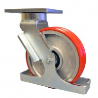 Twin wheel ergonomic caster