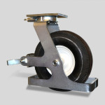 Caster Concepts 12 x 4 pneumatic with swivel lock, face brake, and toe guard