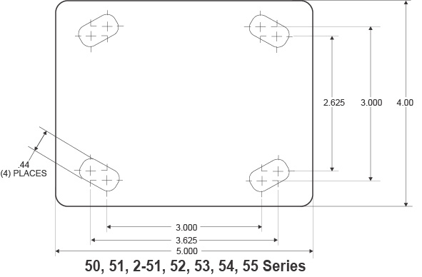 Heavy Duty Caster Wheel Top Plate Dimensions
